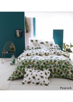 Parure Peacock (blanc / vert) Peacock Bedding, Home And Living, Comforters, Bedroom Decor, Blanket, Furniture, Home Decor, Articles