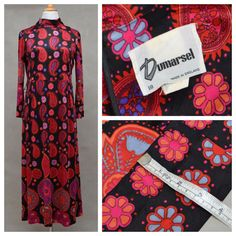 Vintage dress, 1960s psychedelic maxi dress, Black / red paisley hostess dress with matching belt, Long hippie / hippy dress, Sixties Mod  DESCRIPTION  Vintage 1960s maxi dress.  - Classic 60s silhouette with loosefit bodice and pencil line skirt profile.  - Flattering roll neck.  - Three quarter length, flared sleeves,  - Centreback zip fastening.  - Matching belt. The belt is very long in length and is slightly shaped. For the picture I wrapped it around the body twice to give a w...