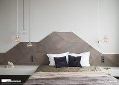 tête de lit en origami de bois et suspensions bulbe, chevet LAGO_by Olga Kovanskaya