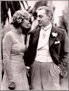 "Delores Costello & John Barrymore on their wedding day in November of 1928.  He  said of her ""I just laid eyes upon the most preposterously lovely creature in all the world. She walked into the studio like a charming child, slender and shy and golden-haired. Never saw such radiance. My God! I knew that she was the one I had been waiting for. Waiting all my life, just for her."""