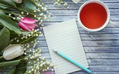 Kwiaty, Tulipany, Konwalie, Herbata, Kartka, Długopis, Deski