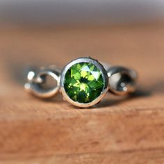 Peridot ring - lime green - solitaire - bezel set - recycled sterling silver - August birthstone - infinity swirl - Wrought ring on Etsy, $180.00