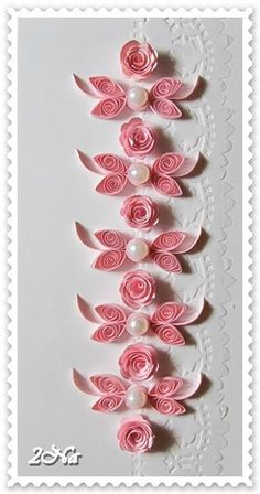 Flowers and embossing mixed with qulling.paper quilling by lana batesQuilled pink and white flowers with pearls Quilling Birthday Cards, Paper Quilling Cards, Paper Quilling Flowers, Paper Quilling Patterns, Quilled Paper Art, Quilling Craft, Quilled Roses, Quilling Comb, Neli Quilling