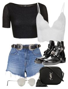 """""""Untitled #11210"""" by minimalmanhattan ❤ liked on Polyvore featuring Topshop, Anine Bing, T By Alexander Wang, Yves Saint Laurent and Forever 21"""