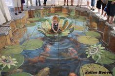 Julian Beever sidewalk art art pavement art So sweet - Charlie Bowater 3d Street Art, Amazing Street Art, Street Artists, Amazing Art, Chalk Artist, 3d Chalk Art, Illusion Kunst, Illusion Art, Illusion Drawings