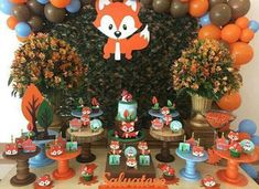 Hermosas ideas para fiestas de zorritos | Tarjetas Imprimibles Boy Baby Shower Themes, Baby Shower Parties, Baby Boy Shower, Baby Shower Decorations, Fox Party, Baby Party, 1st Boy Birthday, Boy Birthday Parties, Shower Bebe