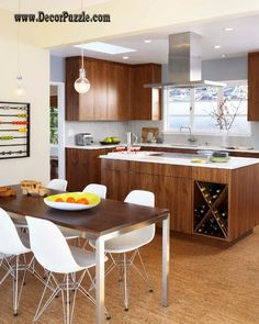 mid century modern kitchen cabinets and dining table