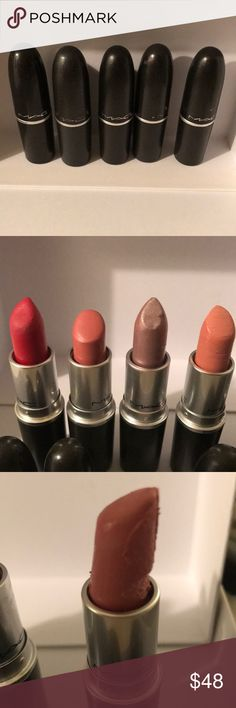 Lot of 4 MAC lipsticks +1 free ALL FIRED UP,HUE++ Included is 4 MAC lipsticks they have been used in my kit but only with a lip brush they all have been disinfected with cosmetic sanitizer most all full only 1 is 1/2  Included is  All Fired Up Please Me Intricate Hue  Included is a free Lipstick Last Day MAC Cosmetics Makeup Lipstick