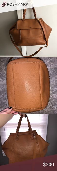 75e32f72e5e6 Tory Burch Large Half Moon Satchel Beautiful  classic tan  color. I have  carried