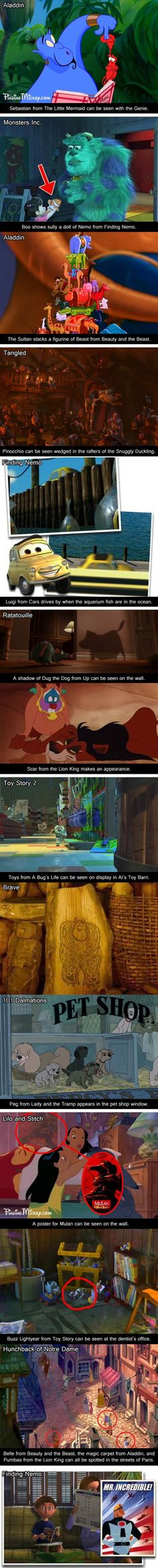 You obsess over finding every little hidden secret: | 25 Signs You Grew Up With Disney This makes me question my entire childhood...the funny thing is that there're stuff from movies that happened after...does that mean they already existed?