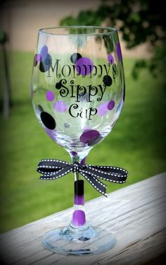 I bet almost every mommy needs one of these from time to time:) Custom Wine Glasses, Personalized Wine Glasses, Painted Wine Glasses, Wine Sayings, Wine Quotes, Fun Crafts, Arts And Crafts, Cricut Air, Drinking Quotes