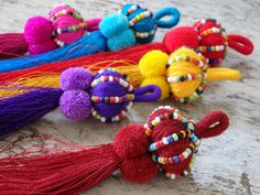 Thai beaded tassel - one large tassel with pompoms for bag charm, accessories, CHOOSE YOUR COLOUR!, boho tassel, ethnic tassel with pompoms Yarn Crafts, Diy And Crafts, Arts And Crafts, Tassel Keychain, Passementerie, Bijoux Diy, Fabric Jewelry, Weaving Techniques, Diy Gifts
