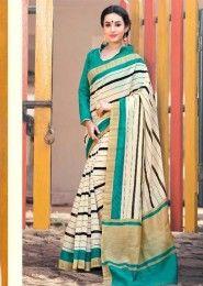 Party Wear Multi Colour Cotton Printed Saree