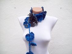 Handmade crochet Lariat Scarf Navy Blue Blue Black Gray   Flower Lariat Scarf Colorful Variegated Long Necklace Winter Fashion by scarfnurlu on Etsy https://www.etsy.com/listing/84444412/handmade-crochet-lariat-scarf-navy-blue