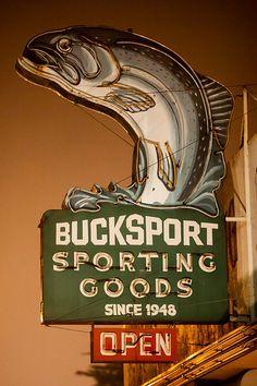 Bucksport Sporting Goods neon sign - Eureka, CA Old Neon Signs, Vintage Neon Signs, Old Signs, Advertising Signs, Vintage Advertisements, Hawk Photos, Roadside Attractions, Roadside Signs, Neon Lighting