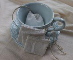 Reusable tea bag muslin hemp small size natural set by YouBeMother, $4.00