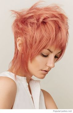 Rose Hair Color, Interesting Cut And A White Top