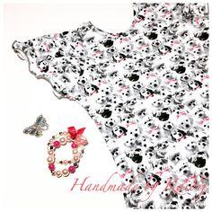 Girls Summer Dress Summer Dress Girls Black and White Dress Print Jersey dress Girls dress size 104 Beautiful summerdress Dogs by HandmadeByKaidij on Etsy