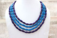 dyed wood blue choker necklace