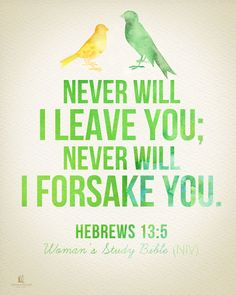 Never will I leave you; never will I forsake you. - Hebrews 13:5 #NIVWomansStudyBible