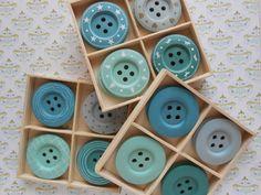 Teal Wooden Buttons 8 pcs. 2width Assorted by lallehandmade