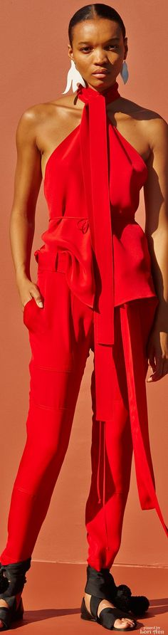 Juan Carlos Obando Spring 2016 RTW red jumpsuit women fashion outfit clothing style apparel @roressclothes closet ideas