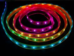These LED strips are fun and glowy. There are 32 RGB LEDs per meter, and you can control each LED individually! Yes, that's right, this is the digitally-addressable type of LED strip. You can set the color of each LED's red, green and blue component with 7-bit PWM precision (so 21-bit color per pixel). The LEDs are controlled by shift-registers that are chained up down the strip so you can shorten or lengthen the strip.