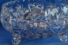Heavy Vintage Pinwheel Crystal Footed Bowl / Lead by SharonTalson
