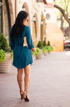 cute & little blog   teal shift dress, leopard belt, clare v leopard haircalf foldover clutch,  lucky brand lisza shooties   fall outfit