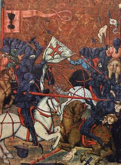 A look at late medieval warfare in Poland and Bohemia. Battle of Domažlice, 15th century Jena Codex. ~S http://www.medievalists.net/2014/09/08/characteristics-medieval-artillery-light-written-sources-bohemia-poland/ #warfare #medieval