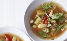Vegetarian Vietnamese Hot and Sour Soup - A delicious fragrant broth containing mushrooms, tomatoes, beansprouts, corn  and okra - soup recipes