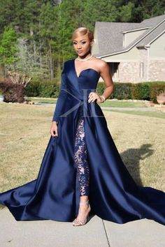 afrikanisches kleid Dubai One Shoulder Prom Dresses Pant Suits A Line Royal Navy High Split Long Sleeve Formal Party Gowns Jumpsuit Celebrity Dresses Handmade Our Wedding Dre Jumpsuit Prom Dress, Dress Up, Two Piece Evening Dresses, Evening Gowns, Evening Dresses Plus Size, One Shoulder Prom Dress, Celebrity Gowns, Party Gowns, Prom Party