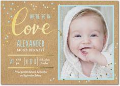 Sincere Welcome: Powder Blue - Foil Stamped Boy Birth Announcement in Powder Blue   Petite Alma