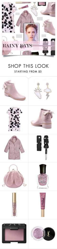 """rainy days"" by ztugceuslu ❤ liked on Polyvore featuring Paskal, Kate Spade, Deborah Lippmann, Too Faced Cosmetics, NARS Cosmetics, Yves Saint Laurent, dots, rainboots and pasteltones"