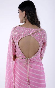 Light Pink Leheriya Saree Combined with lace work net blouse Beaded lace border all-over the Saree Blouse Designs High Neck, Cotton Saree Blouse Designs, Best Blouse Designs, Floral Blouse, Stylish Blouse Design, Choli Designs, Designer Blouse Patterns, Chiffon Blouses, Chiffon Saree