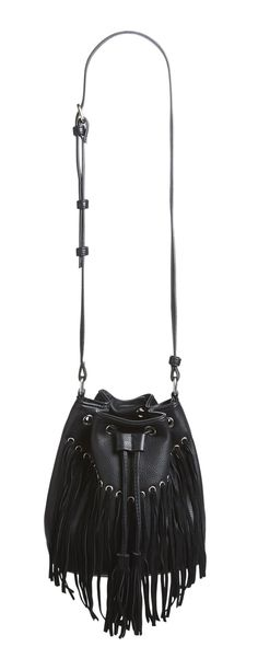 Velvet fringe swings from this ultra chic and trendy bucket bag with an adjustable strap.