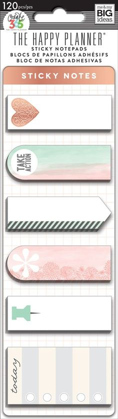 Sticky notes are the perfect accessory when you need to rearrange your schedule or to do list. Each package includes: 7 designs with 20 self-adhesive notes per design. Item #: POSM-07