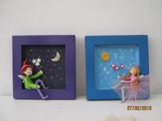 depth frame adorned with fairy tulle cold porcelain and wood box, cold porcelain, painting, modeling, painting Paper Mache Clay, Paper Clay, Clay Art, Jumping Clay, Fimo Clay, Ceramic Clay, Clay Projects, Clay Crafts, Wooden Painting