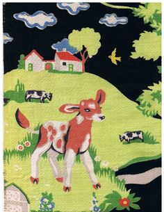 Beautiful Rare Vintage BARKCLOTH fabric