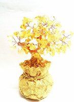 HSS Feng Shui Citrine/ Yellow Crytal Money Tree in a Money Bag for Wealth Luck