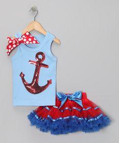 This Blue Sequin Anchor Tank & Pettiskirt - Infant, Toddler & Girls is perfect! #zulilyfinds