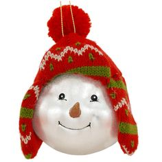 Snowman With Red Knit Hat Glass Ornament