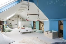 How to Transform Your Attic into an Amazing Playroom - Attic Basement Ideas Attic Bedroom Small, Attic Rooms, Blue Bedroom, Cozy Bedroom, Kids Bedroom, Loft Playroom, Loft Room, Attic Renovation, Attic Remodel