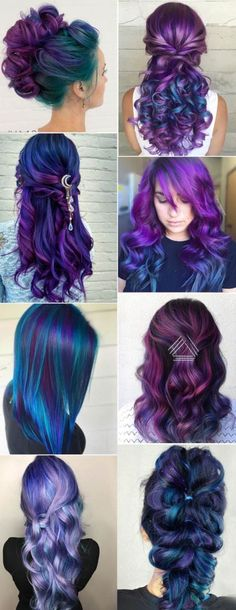 Purple and blue hair hair styles are all the rage, especially now when the hot s.,Purple and blue hair hair styles are all the rage, especially now when the hot season is approaching and we wish to experiment with the hair color. Cool Hair Color, Peacock Hair Color, Galaxy Hair Color, Unicorn Hair Color, Crazy Hair, Weird Hair, Rainbow Hair, Pretty Hairstyles, Blue Hairstyles