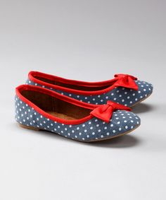Navy & Red Polka Dot Flat | Daily deals for moms, babies and kids