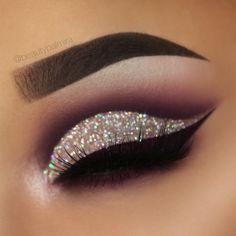 Dark purple glitter cutcrease makeup with liquid lipstick eyeliner Lime Crime Velvetine Raven