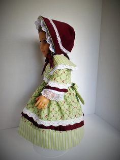 1854 Holly Dress with Crossed Collar Fichu and Bonnet by PeppersDollClothes on Etsy  $45.00
