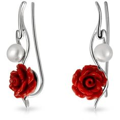 Bling Jewelry .925 Sterling Silver Red Resin Rose Freshwater Cultured... ($20) ❤ liked on Polyvore featuring jewelry, earrings, red, beaded earrings, boho earrings, flower earrings, red beaded earrings and freshwater pearl earrings