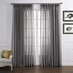 Country Two Panels Solid Grey Living Room Linen Polyester Blend Sheer Curtains Shades - GBP £ 30.95