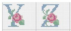 Ponto Cruz -Abecedário Rosas (Y,Z) Cross Stitch Letters, Monogram Letters, Cross Stitching, Plastic Canvas, Stitch Patterns, Needlework, Kids Rugs, Embroidery, Sewing